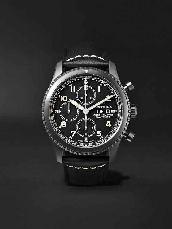 Breitling Navitimer 8 Chronograph 43mm Black Steel and Leather Watch, Ref. No. M13314101B1X1