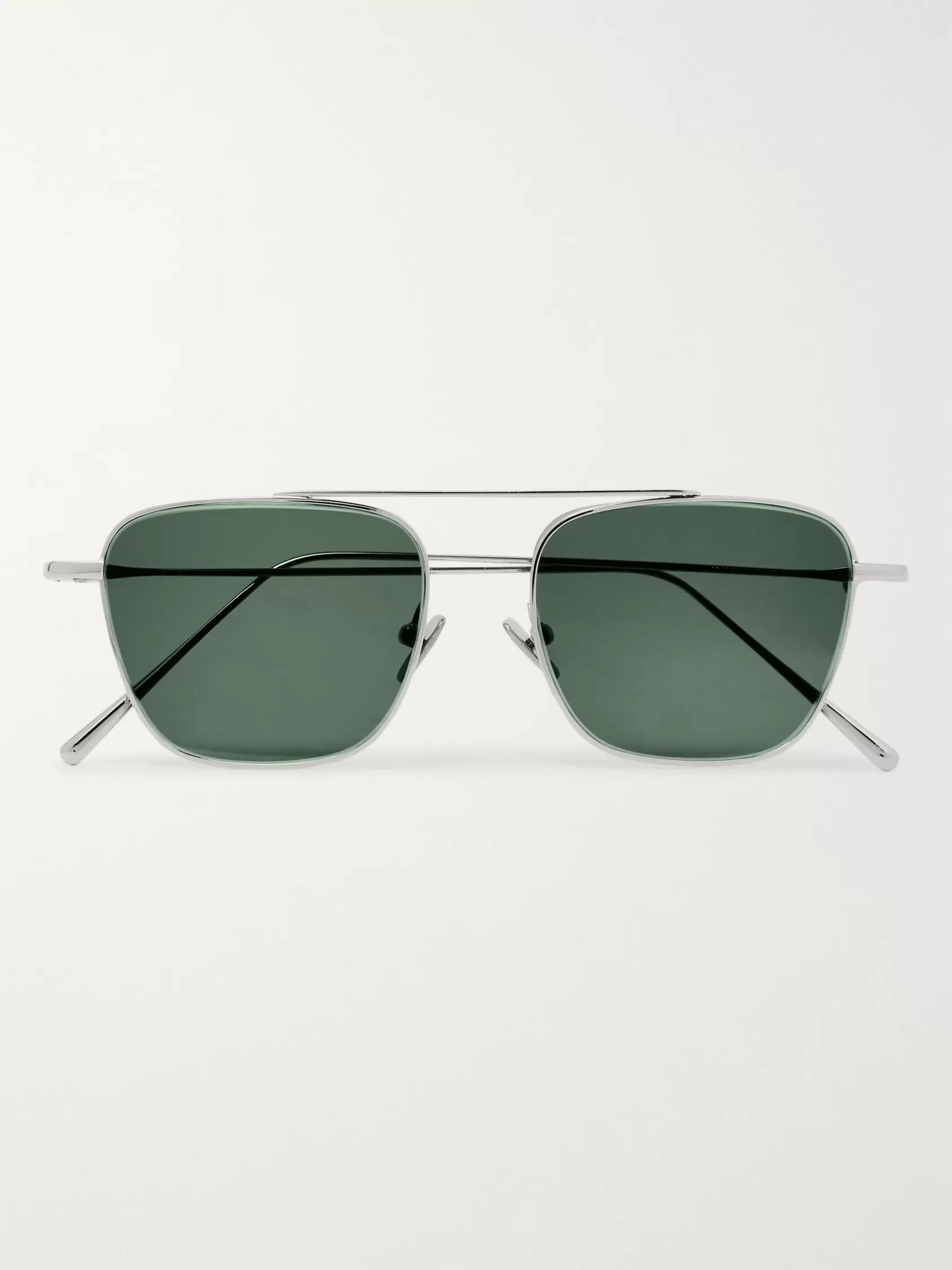 Cubitts Collier Aviator-Style Silver-Tone Sunglasses