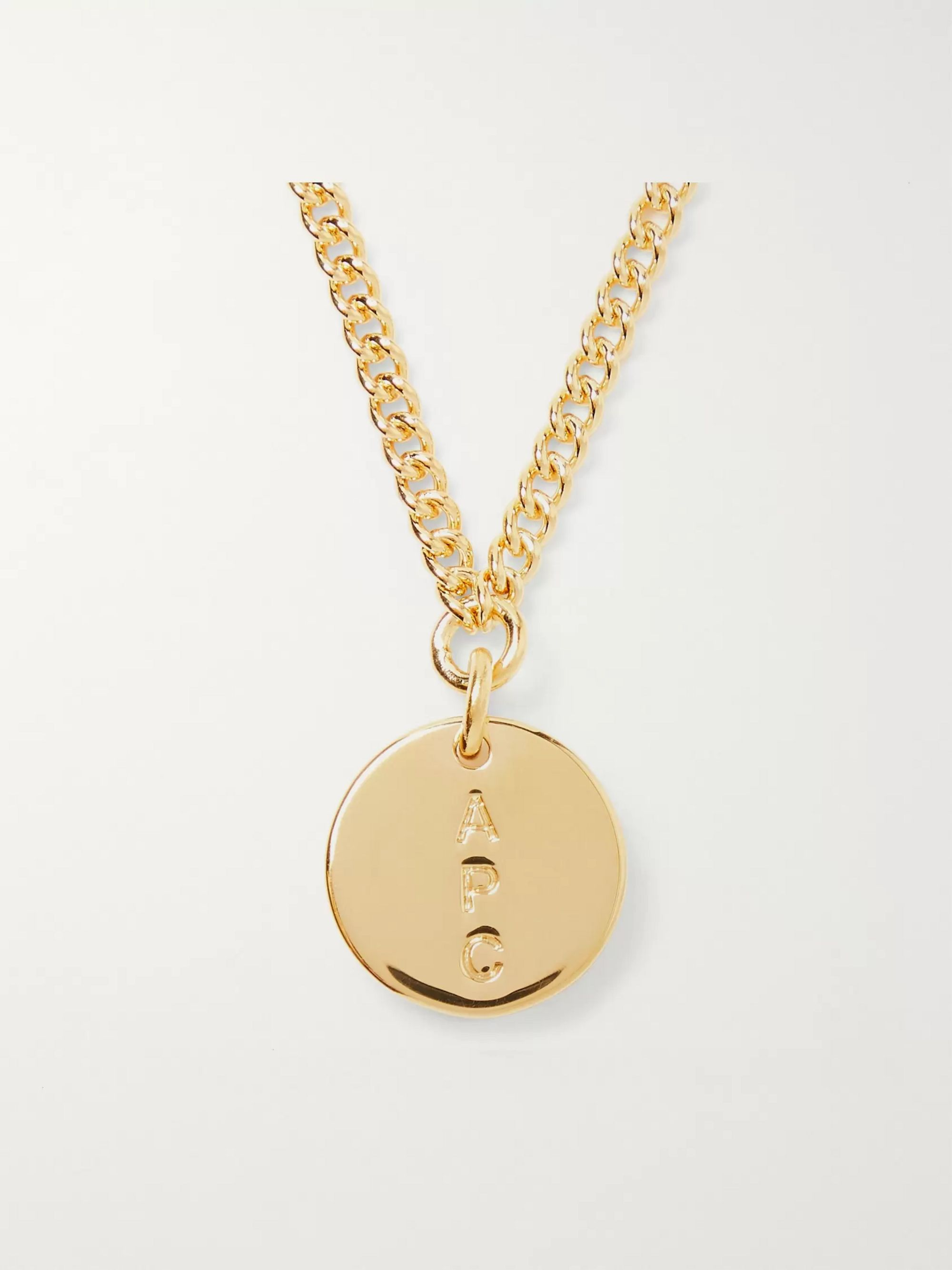 A.P.C. Casey Logo-Engraved Gold-Tone Necklace