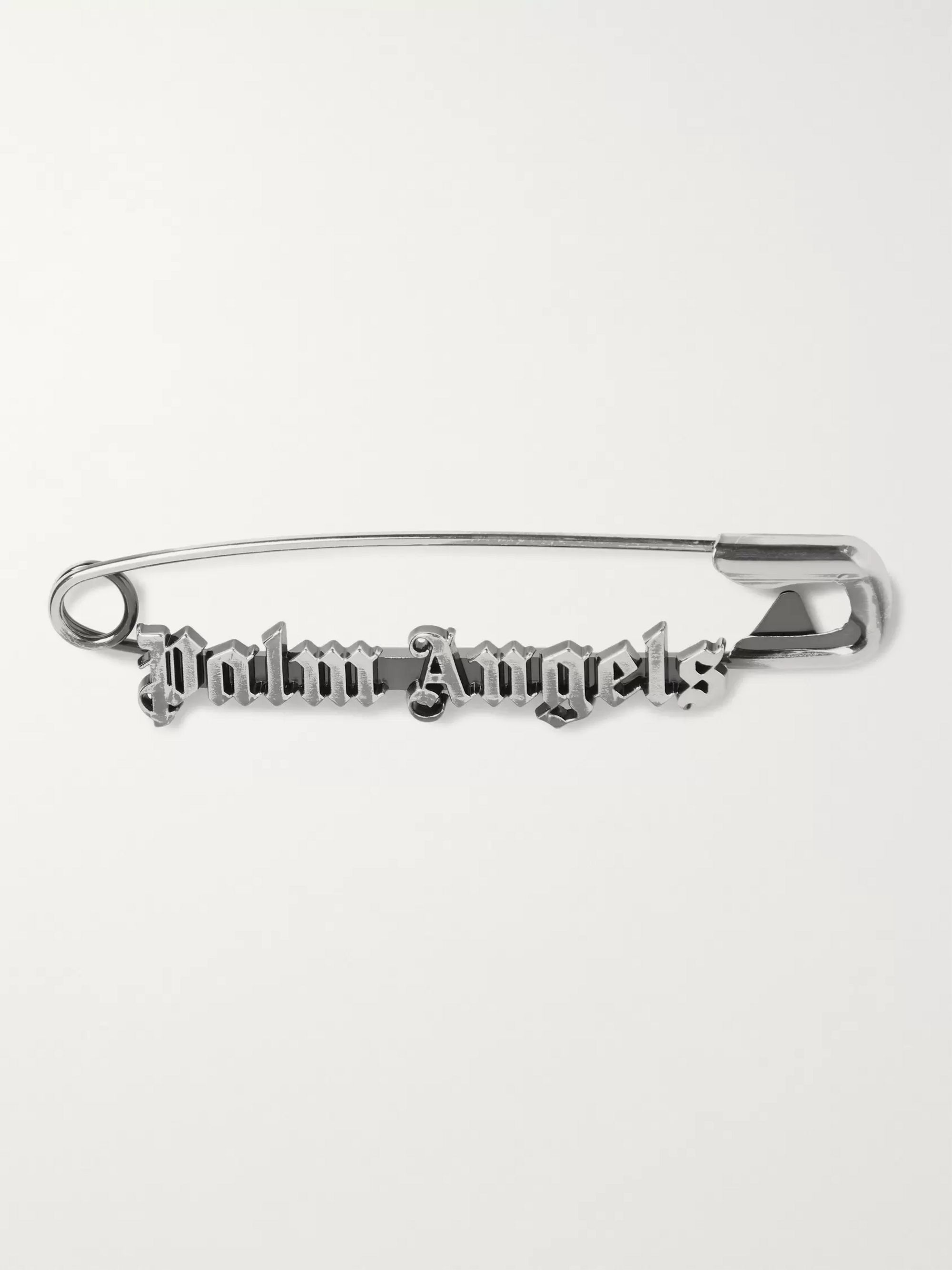 Palm Angels Logo Oxidised Silver-Tone Tie Clip
