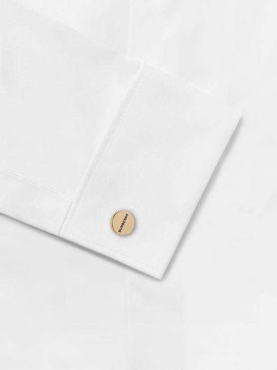 BURBERRY Logo-Engraved Gold-Plated and Enamel Cufflinks