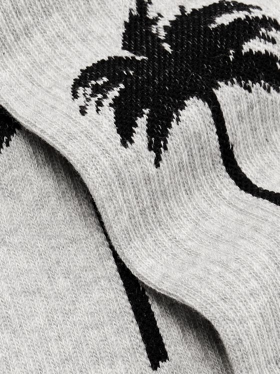 Palm Angels Intarsia Mélange Stretch Cotton-Blend Socks
