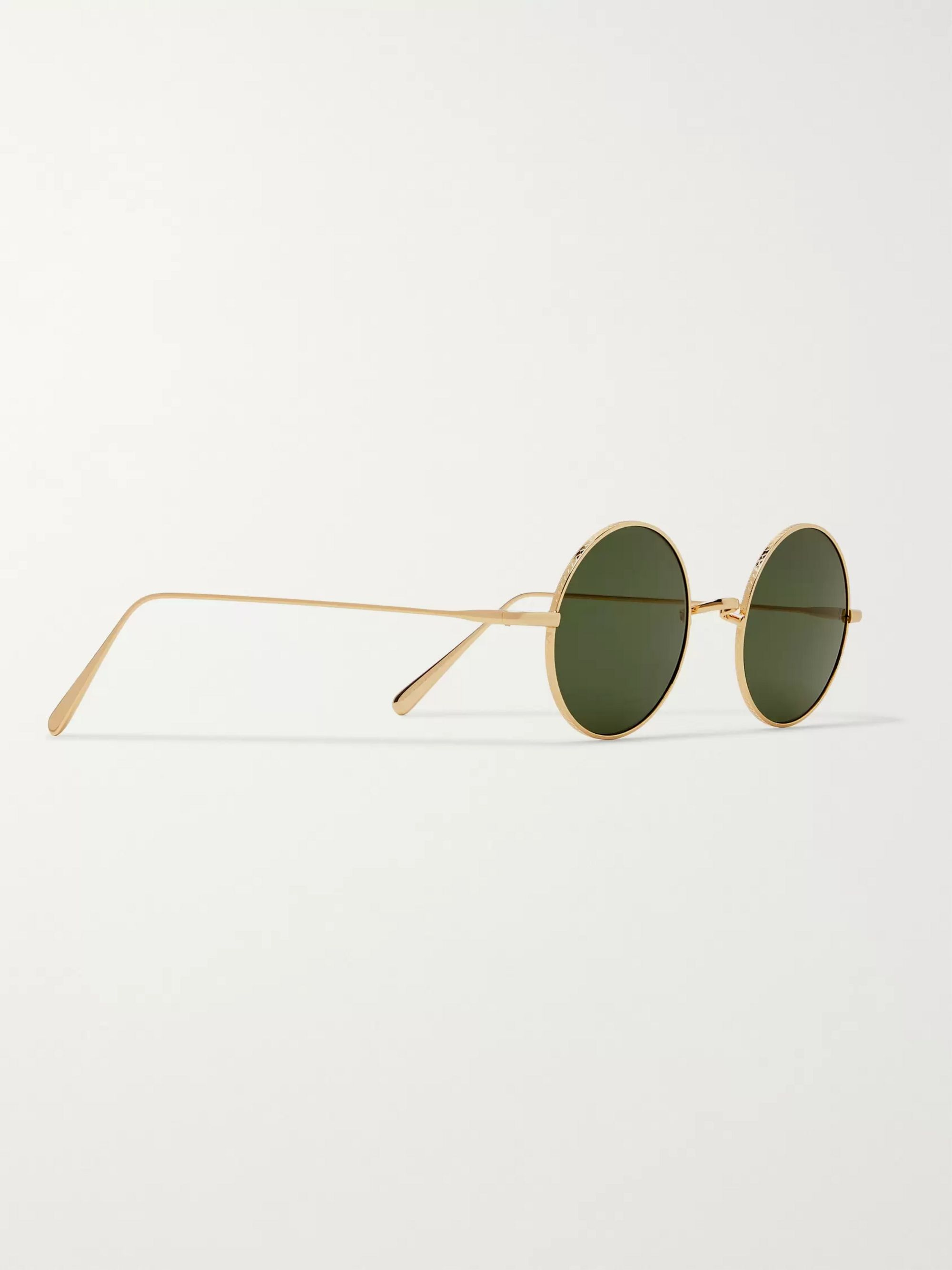 Cubitts Guilford Round-Frame Gold-Tone Sunglasses