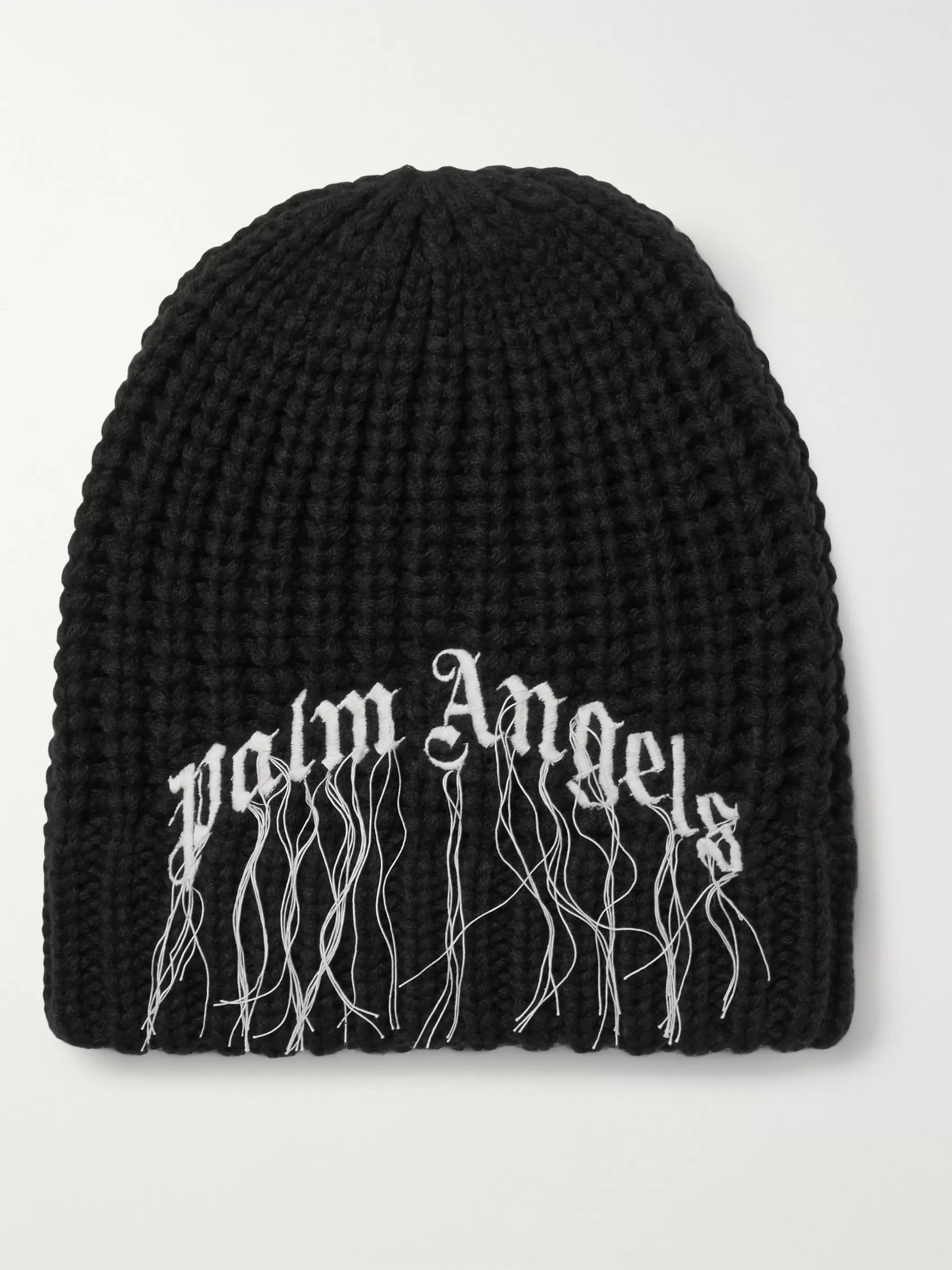 Palm Angels Logo-Embroidered Ribbed Wool Beanie