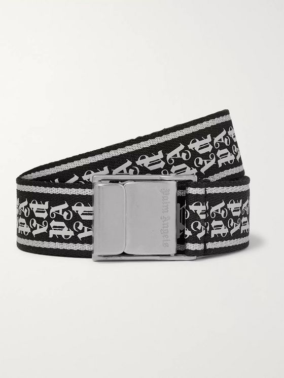 PALM ANGELS 4cm Logo-Print Webbing Belt