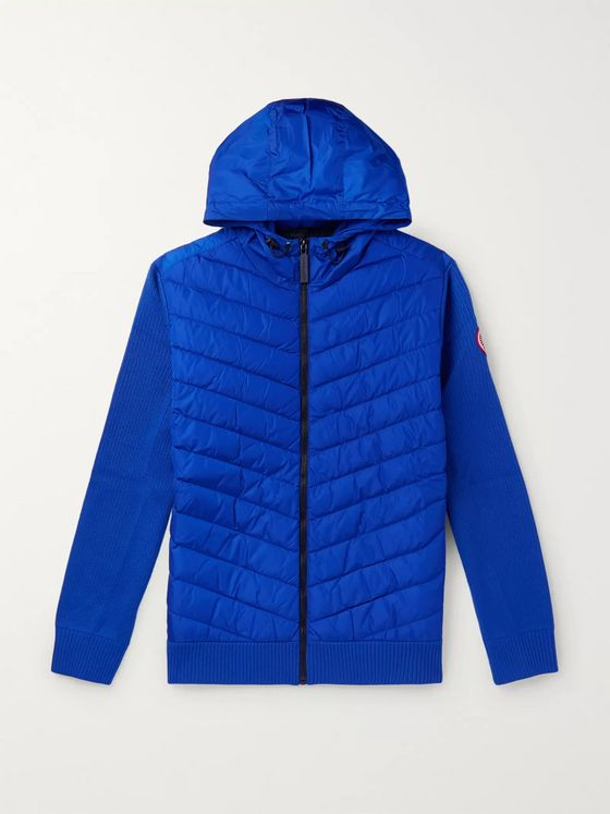 캐나다 구스 메리노 울 & 나일론 후드 다운 자켓 (슬림핏) - 블루 Canada Goose HyBridge Slim-Fit Merino Wool and Quilted Nylon Hooded Down Jacket