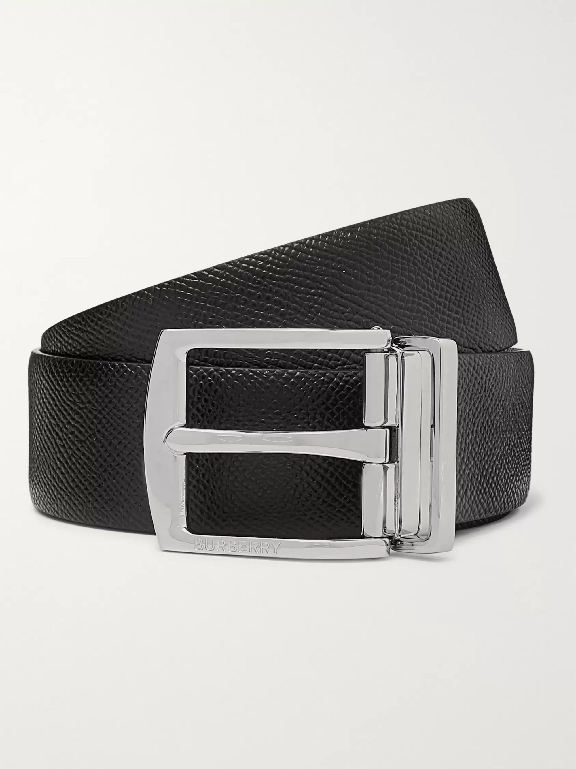 Burberry 3.5cm Black Textured-Leather Belt