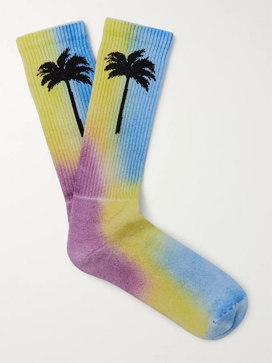 Palm Angels Tie-Dyed Intarsia Stretch Cotton-Blend Socks