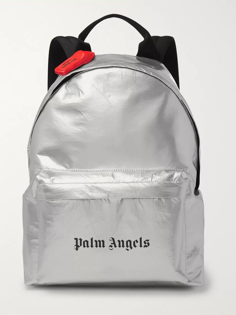 Palm Angels Logo-Print Coated-Canvas Backpack