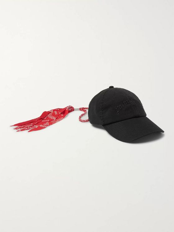 Palm Angels Bandana-Trimmed Logo-Embroidered Cotton-Twill Baseball Cap