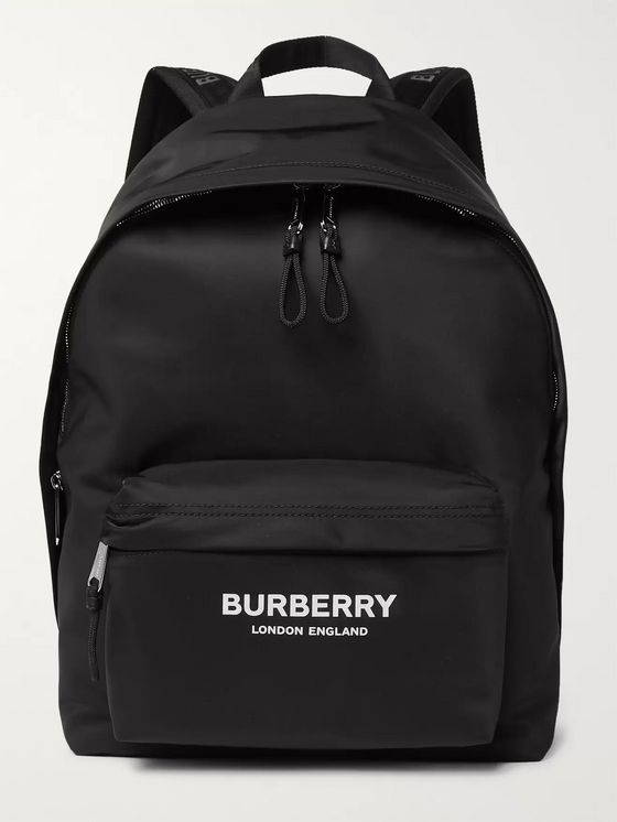 Burberry Logo-Print Leather-Trimmed Nylon Backpack