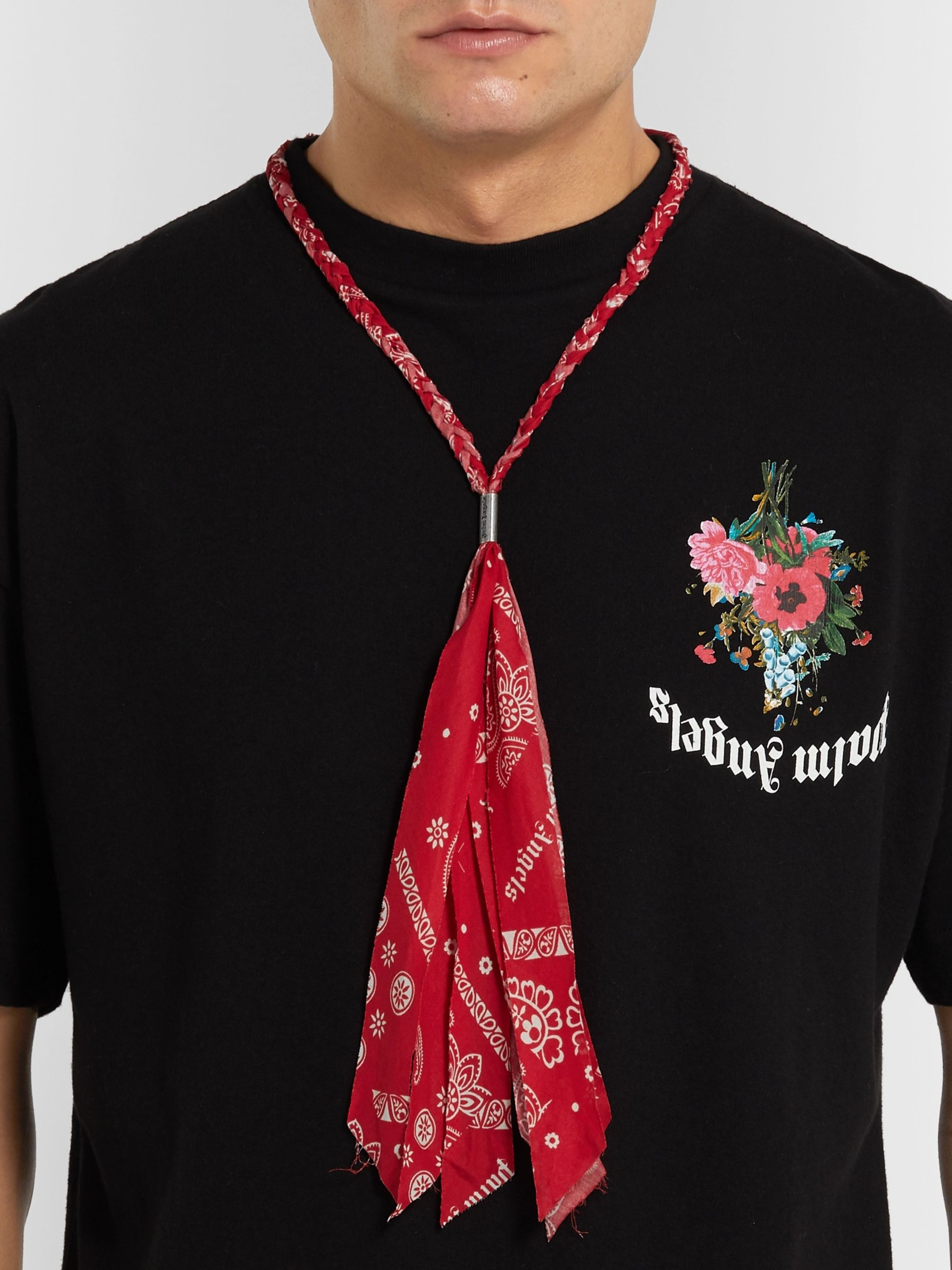 Palm Angels Bandana-Print Cotton Necklace