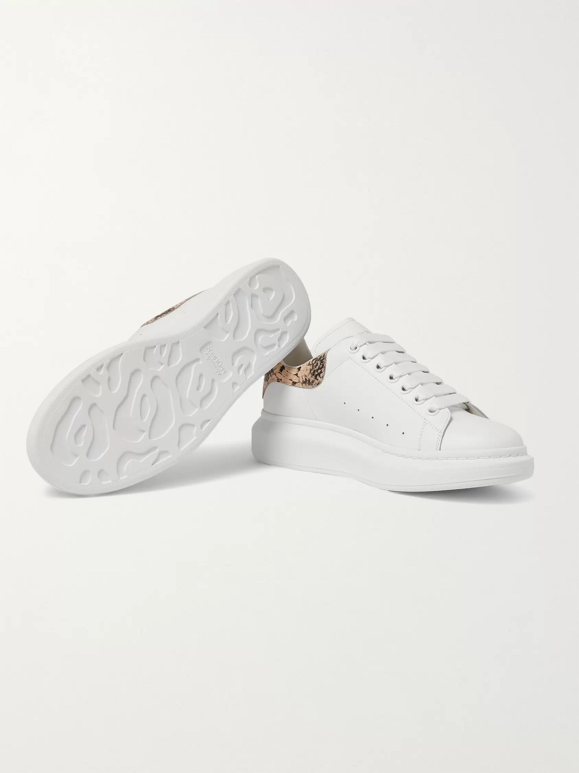 Alexander McQueen Exaggerated-Sole Snake-Effect and Leather Sneakers