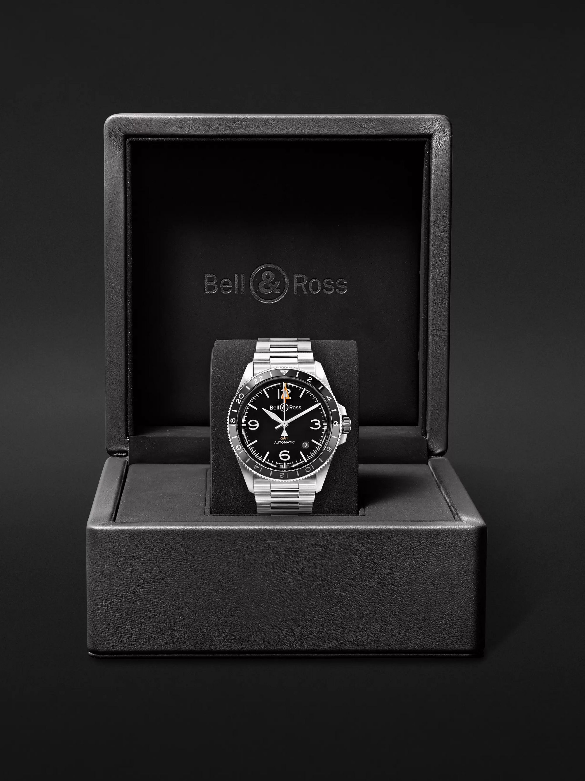 Bell & Ross BR V2-93 GMT Automatic 41mm Stainless Steel Watch, Ref. No. BRV293-BL-ST/SST