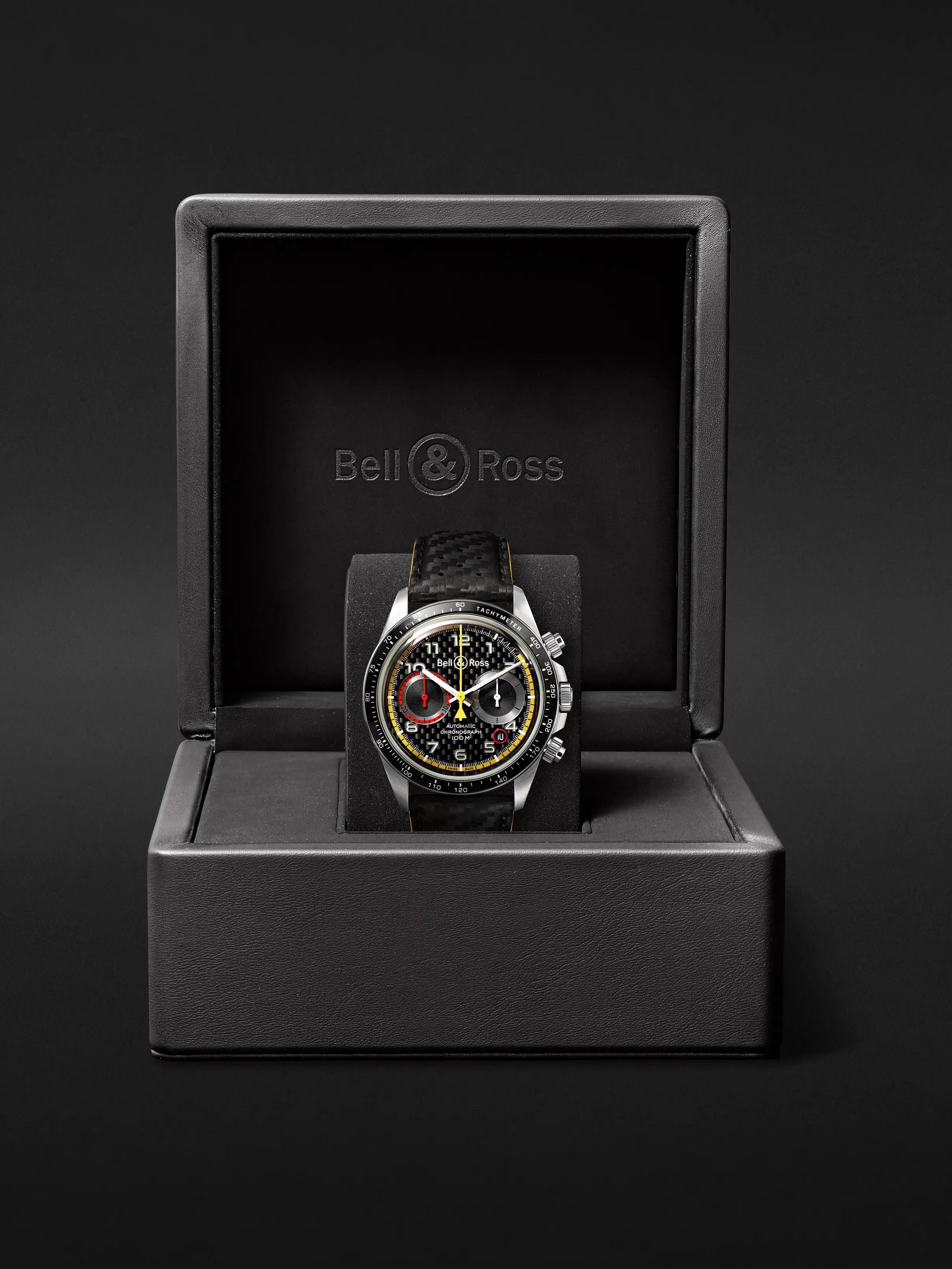 Bell & Ross BR V2-94 R.S.18 Renault Limited Edition Chronograph 41mm Stainless Steel and Leather Watch, Ref. No. BR0392-D-BL-BR/SCA
