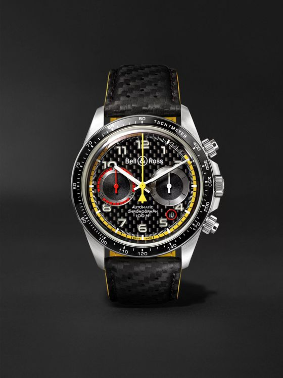 Bell & Ross BR V2-94 R.S.18 Renault Limited Edition Automatic Chronograph 41mm Stainless Steel and Leather Watch, Ref. No. BR0392-D-BL-BR/SCA