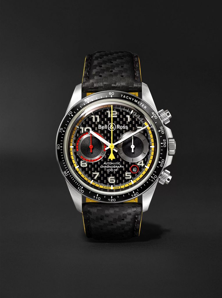 Bell & Ross BR V2-94 R.S.18 Renault Limited Edition Chronograph 41mm Stainless Steel and Leather Watch