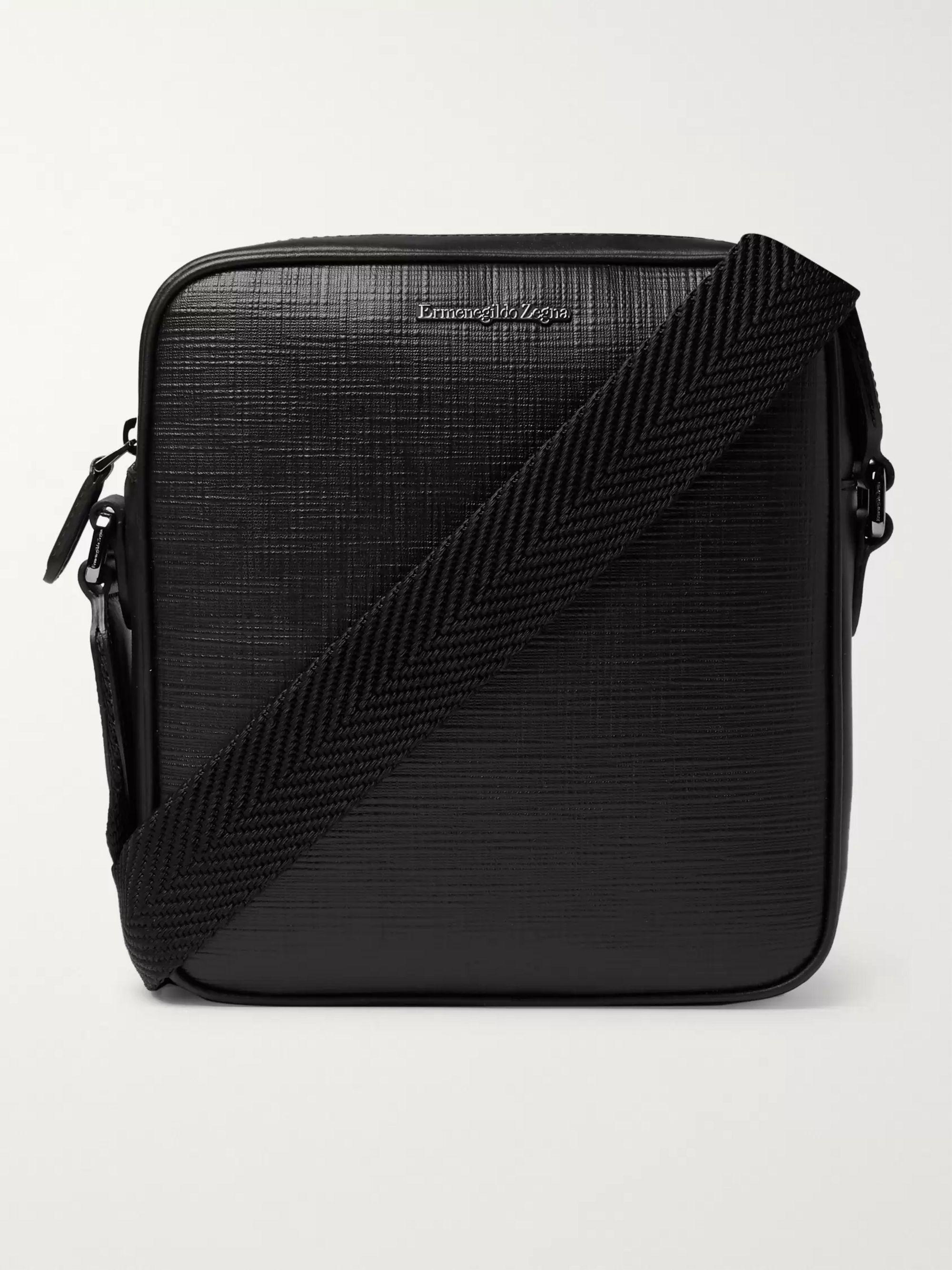 제냐 Zegna Logo-Embellished Cross-Grain Leather Messenger Bag,Black