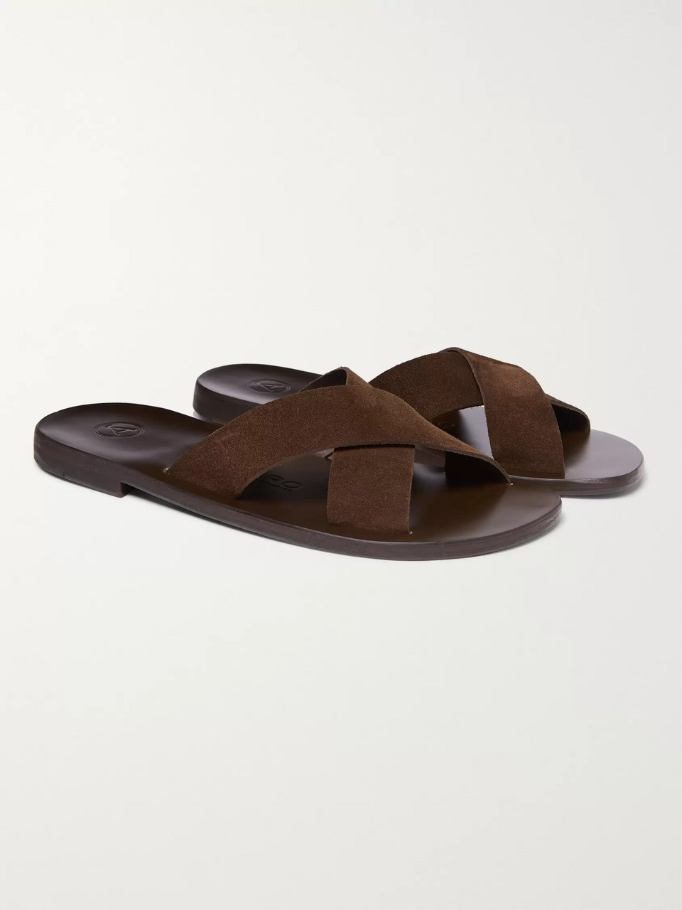 1c1772a2dac4 Dark brown Antonio Suede Sandals