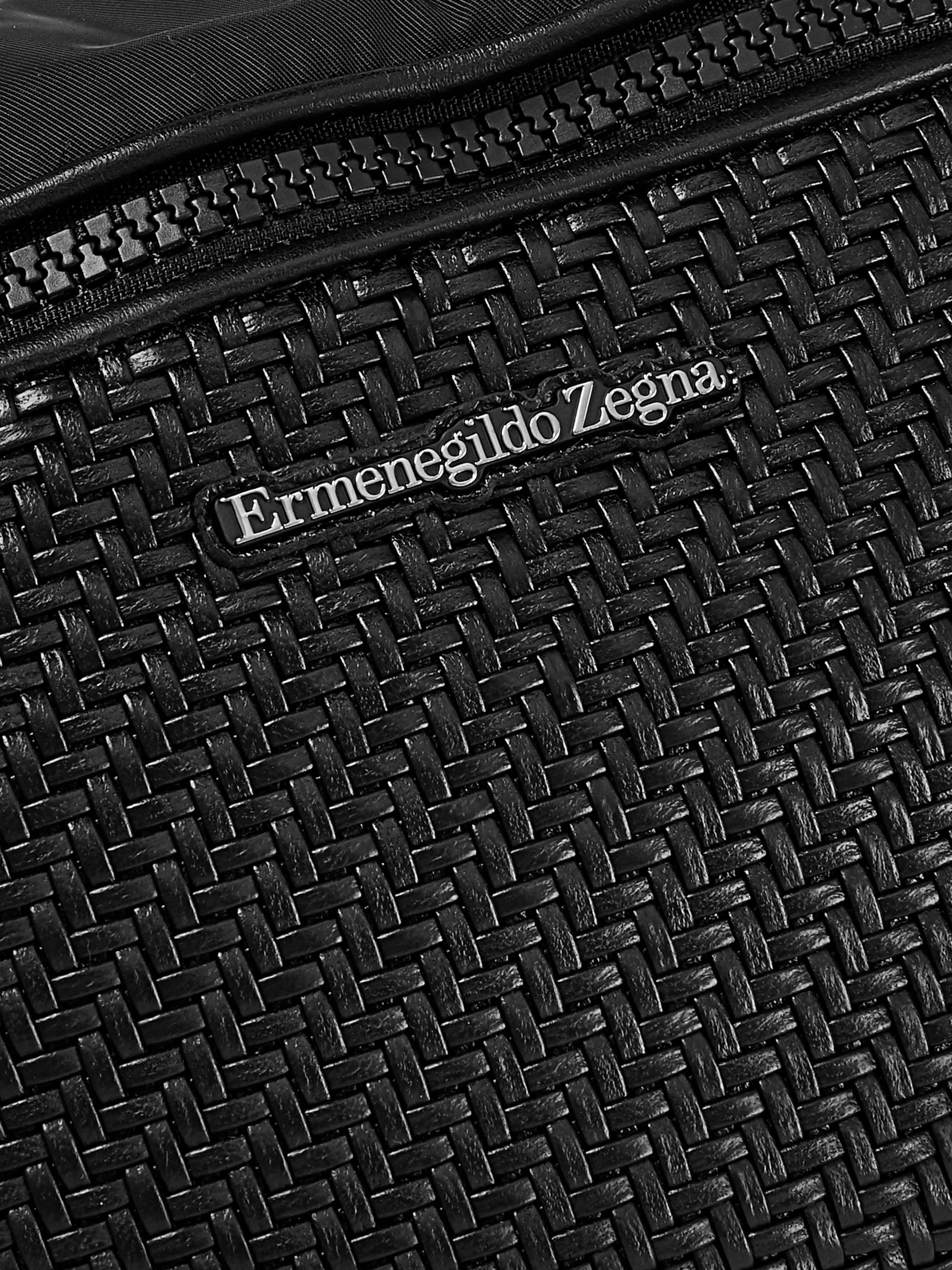 Ermenegildo Zegna Pelle Tessuta Leather and Shell Belt Bag