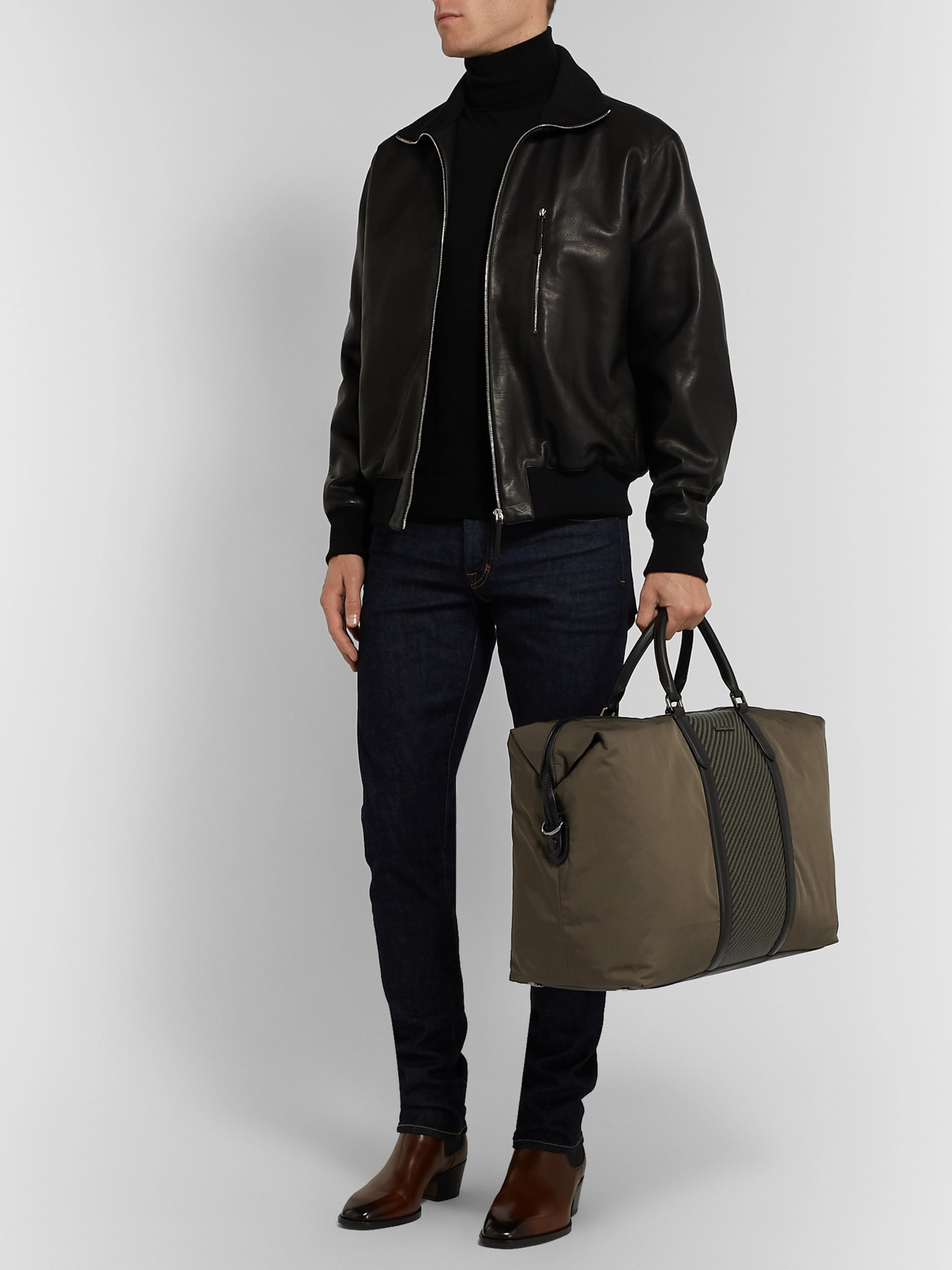 Ermenegildo Zegna Shell And Pelle Tessuta Leather Holdall