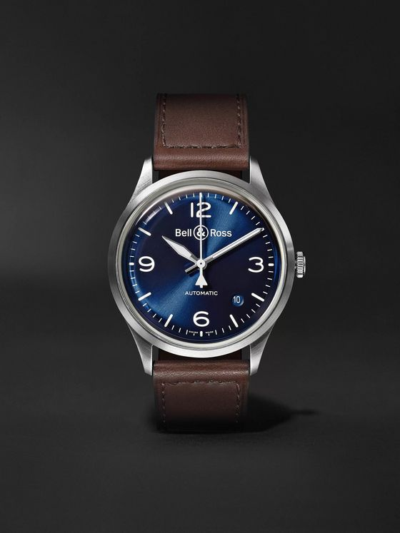 BELL & ROSS BR V1-92 Blue Steel Automatic 38.5mm Steel and Leather Watch, Ref. No. BRV192-BLU-ST/SCA