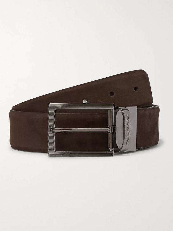 Ermenegildo Zegna 3.5cm Brown and Black Reversible Nubuck and Leather Belt