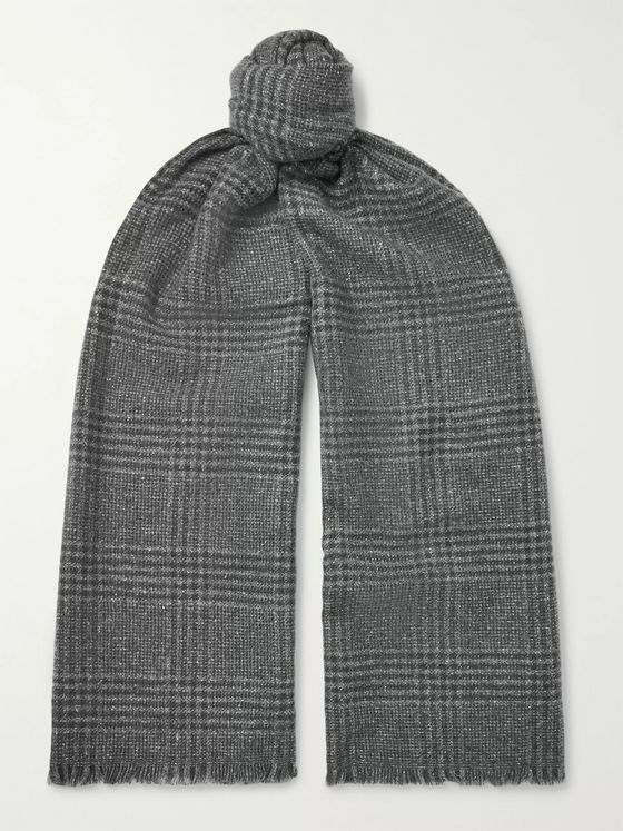 Ermenegildo Zegna Fringed Checked Wool and Silk-Blend Scarf