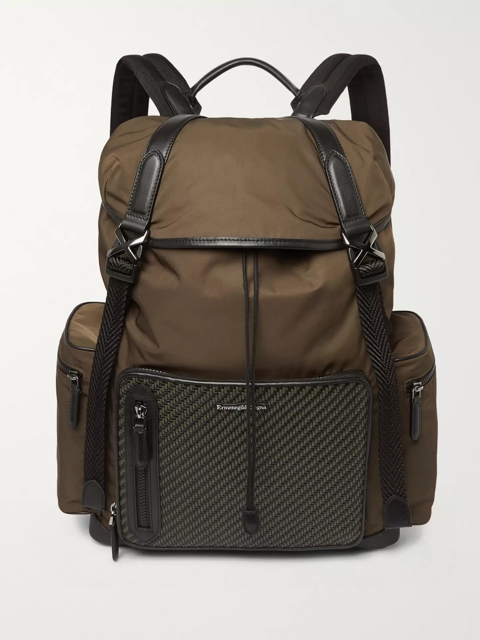 Ermenegildo Zegna Pelle Tessuta Leather, Mesh and Nylon Backpack