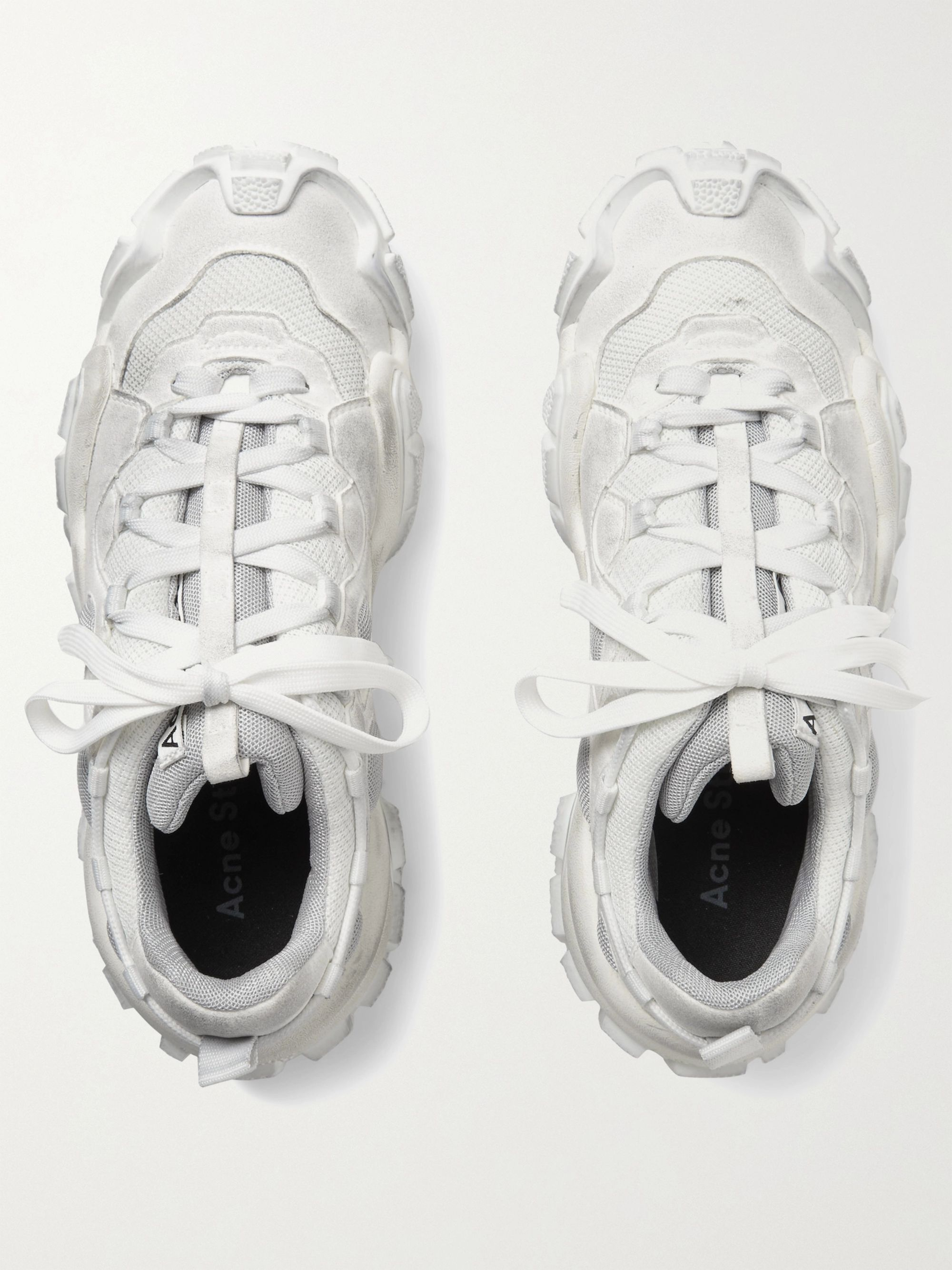 Acne Studios Boltzer Distressed Rubber-Trimmed Suede and Mesh Sneakers