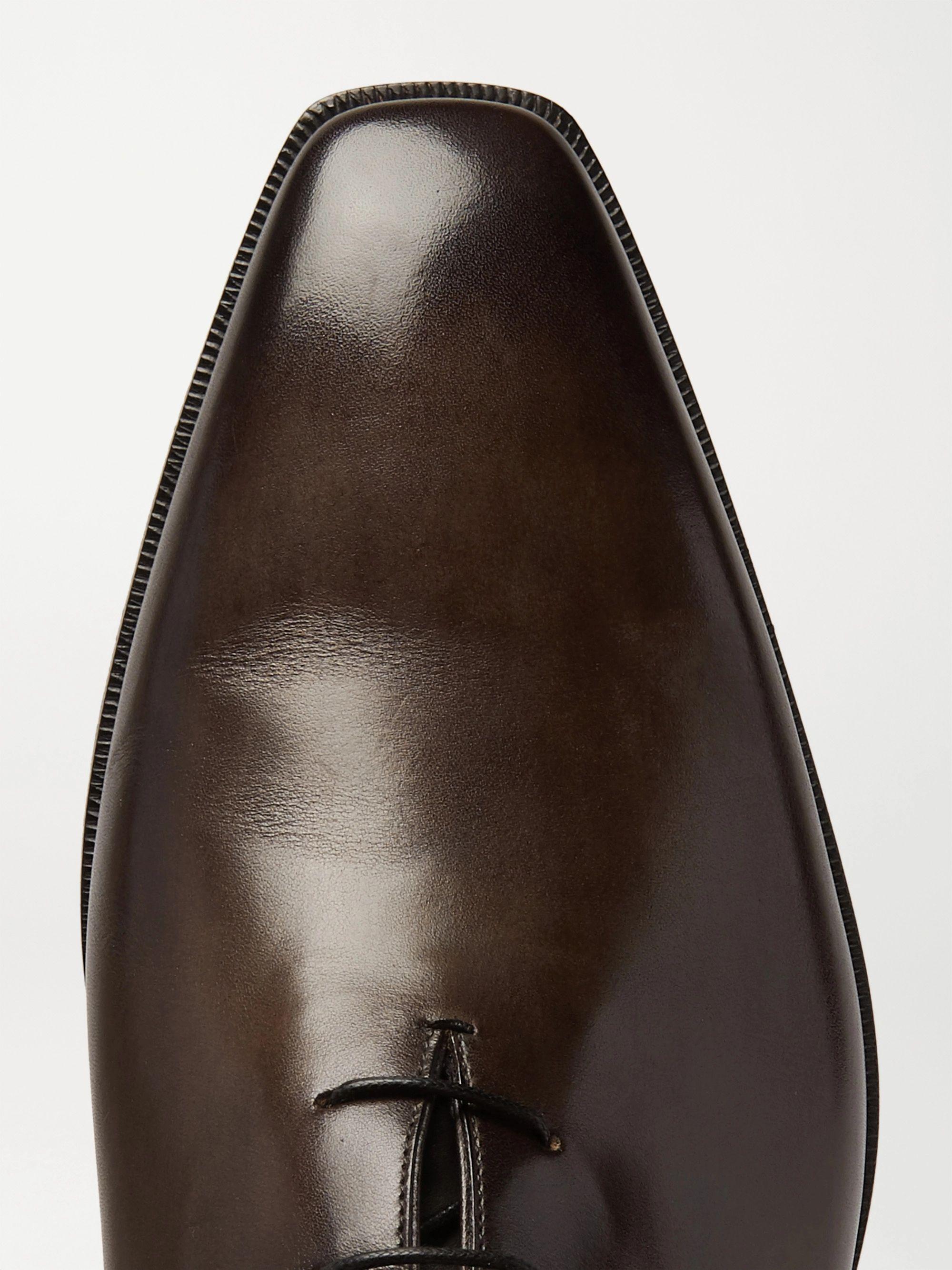 Dark Brown Venezia Whole-cut Leather Oxford Shoes   Berluti