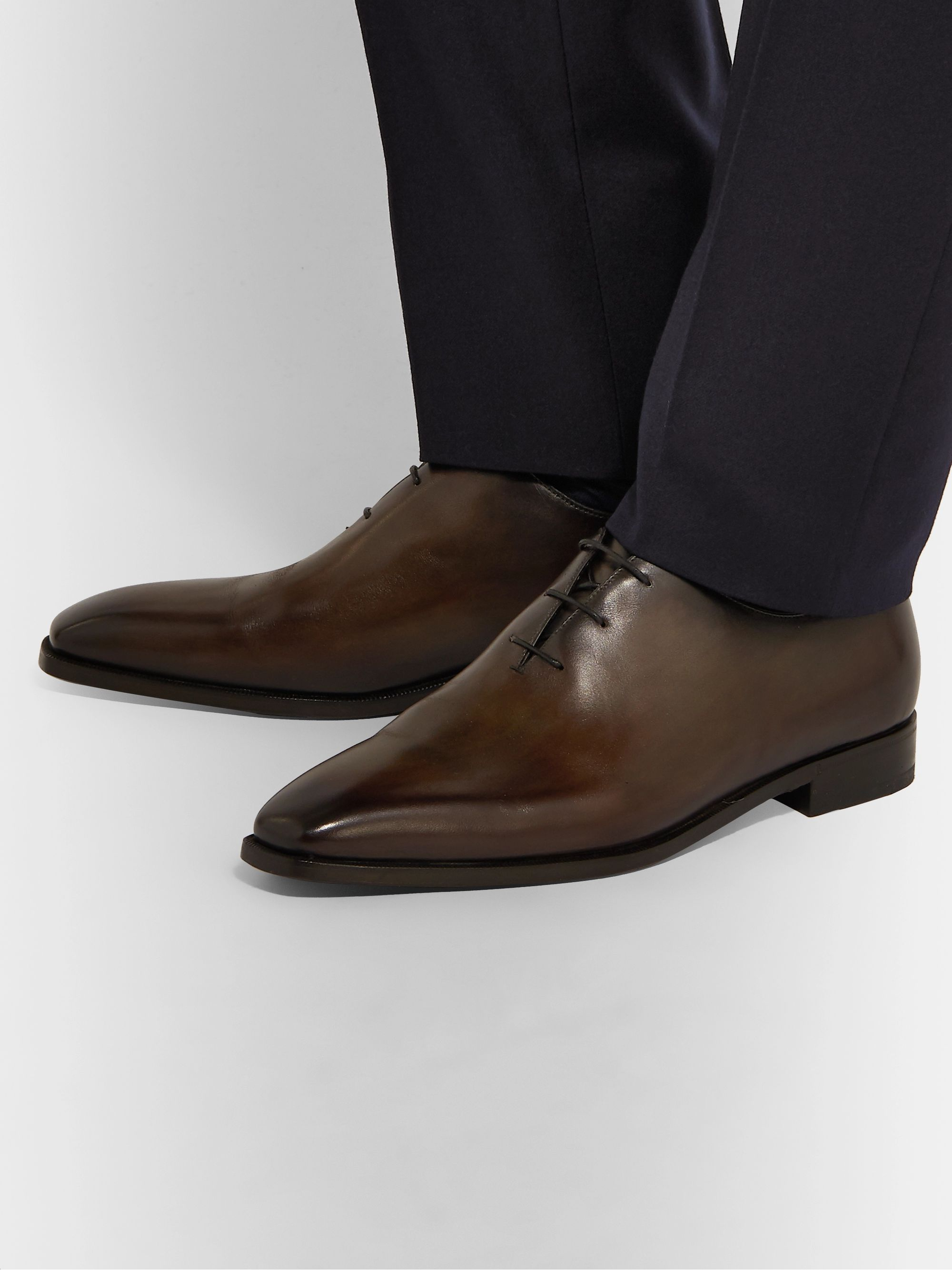 Berluti Venezia Whole-Cut Leather Oxford Shoes