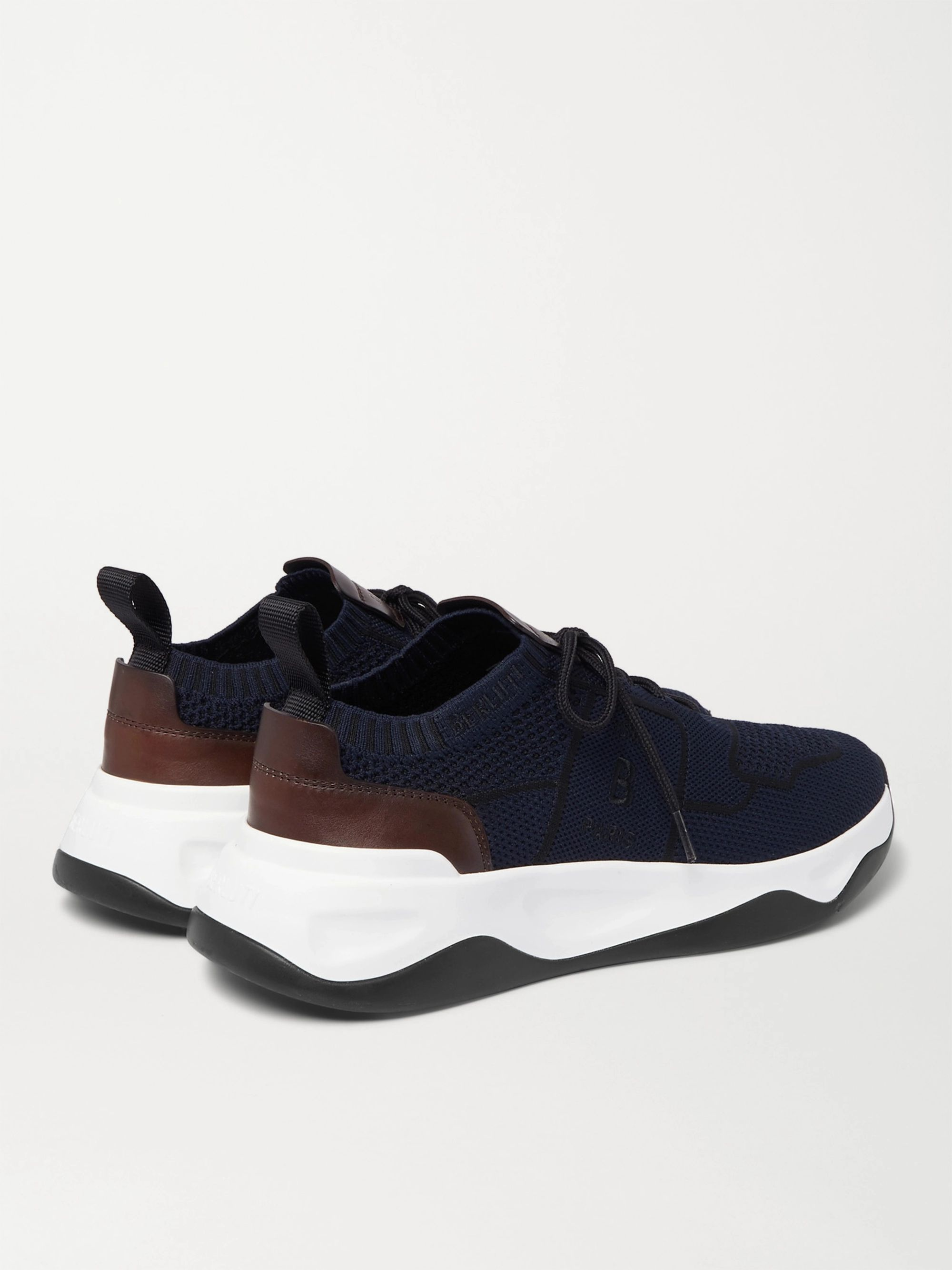 Berluti Shadow Leather-Trimmed Mesh Sneakers
