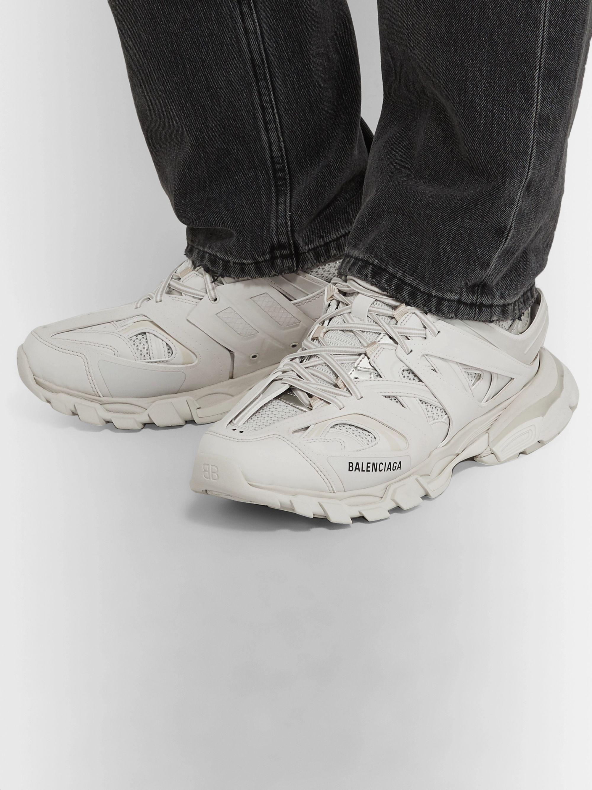 White Track Nylon Mesh And Rubber Sneakers Balenciaga Mr Porter