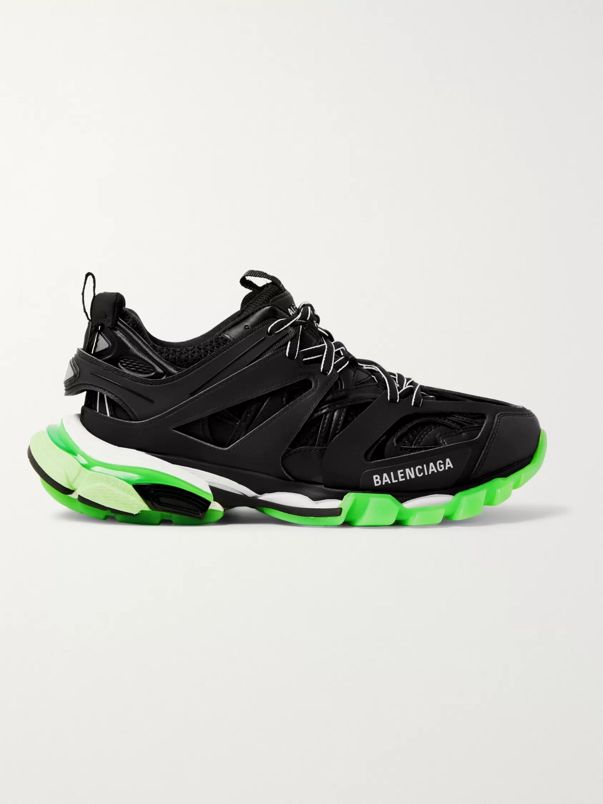 Balenciaga Track Glow Nylon, Mesh and Rubber Sneakers