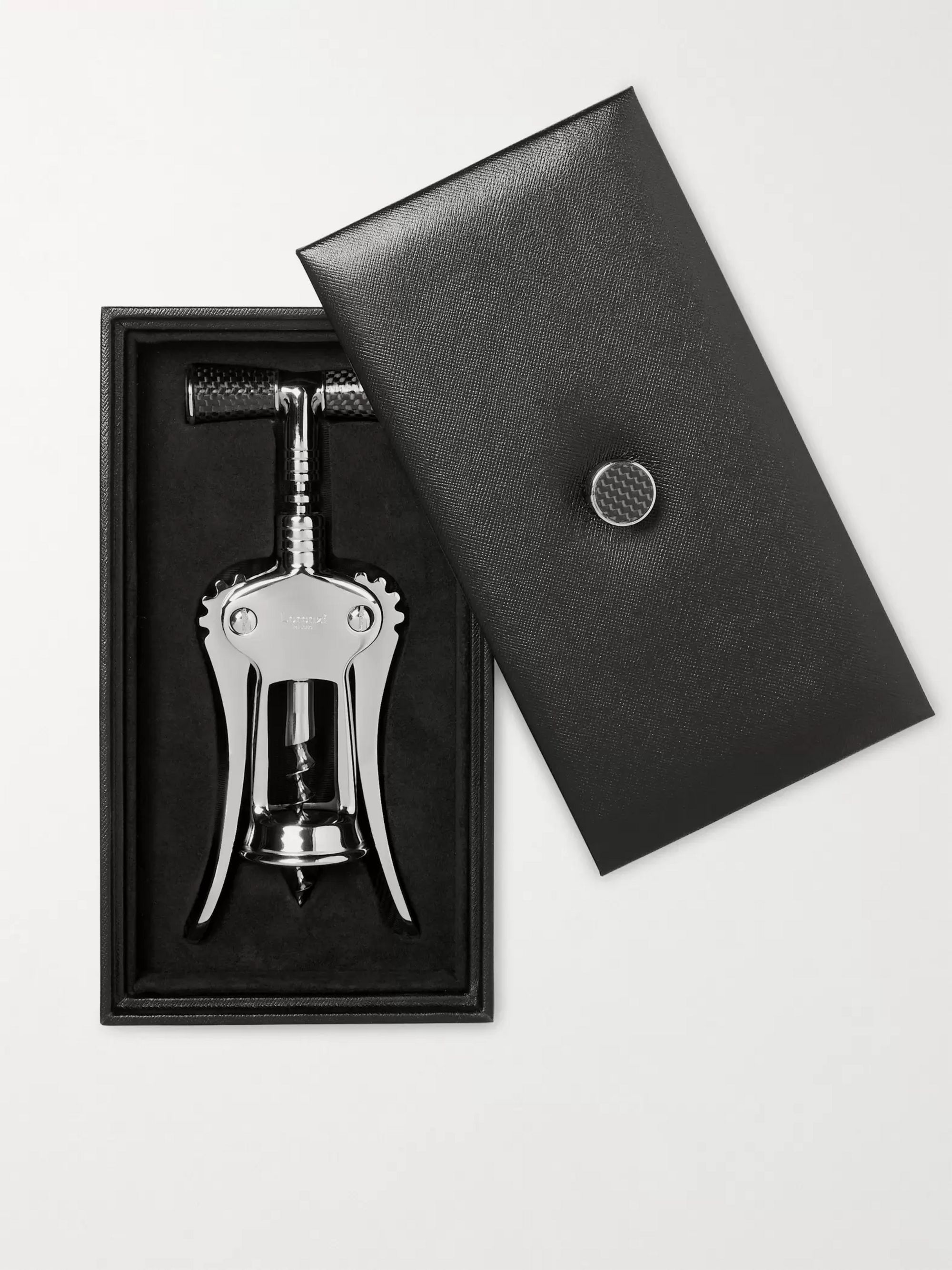 Lorenzi Milano Chrome-Plated, Stainless Steel and Carbon Fibre Corkscrew
