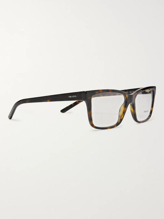 Prada Square-Frame Tortoiseshell Acetate Optical Glasses