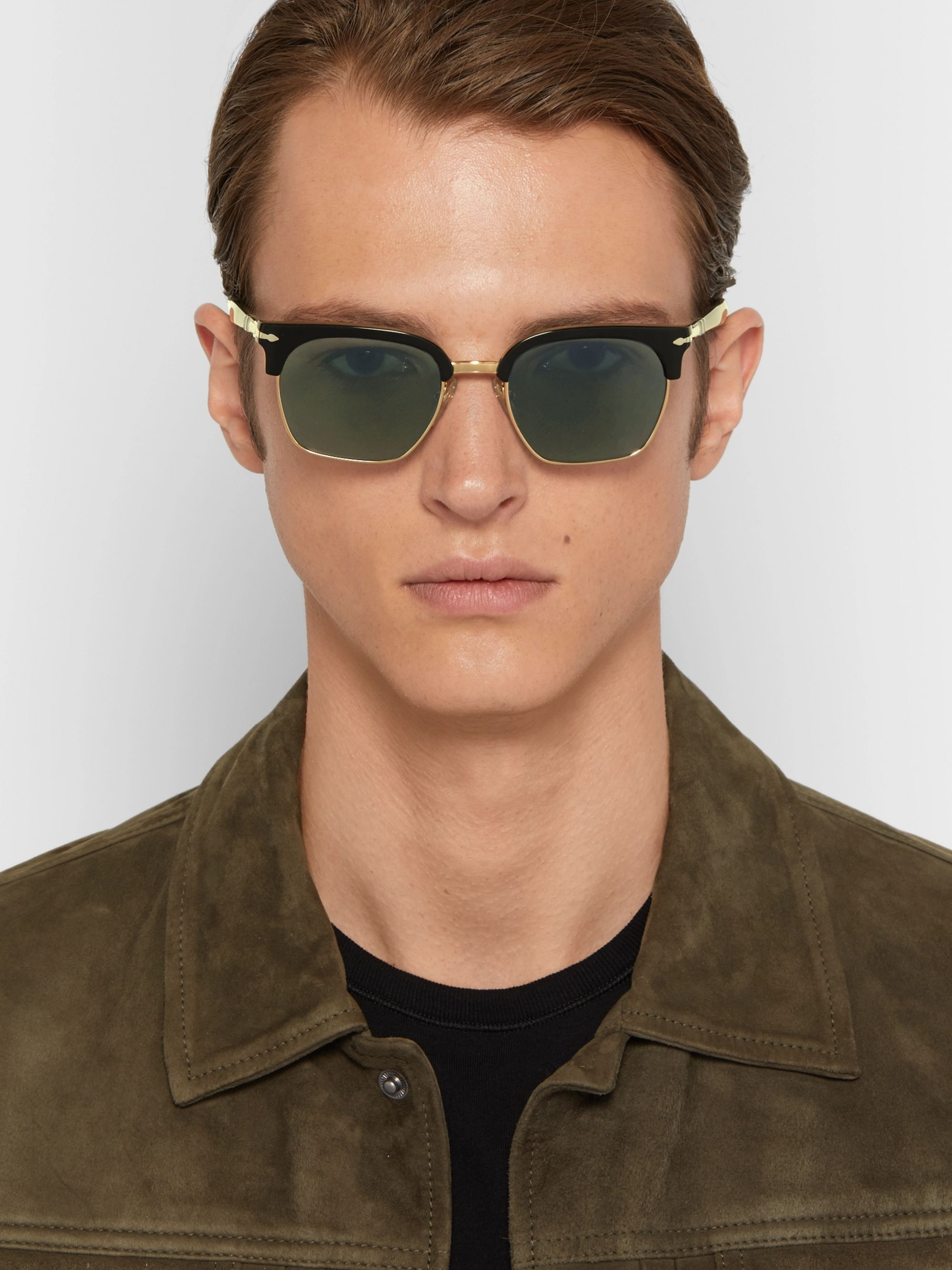 Persol D-Frame Acetate and Gold-Tone Sunglasses