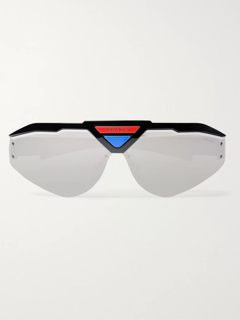 Prada Wrap-Around Acetate Mirrored Sunglasses