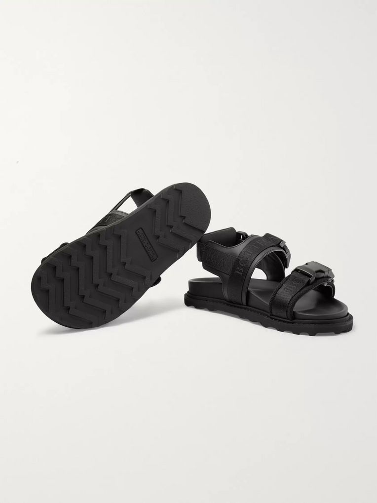 Bottega Veneta Webbing-Trimmed Leather and Wool Sandals