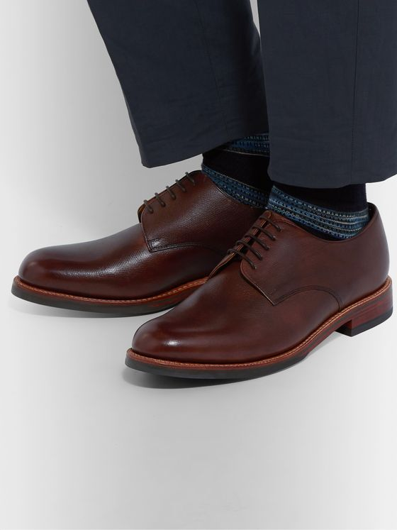 Grenson Curt Hand-Painted Full-Grain Leather Derby Shoes