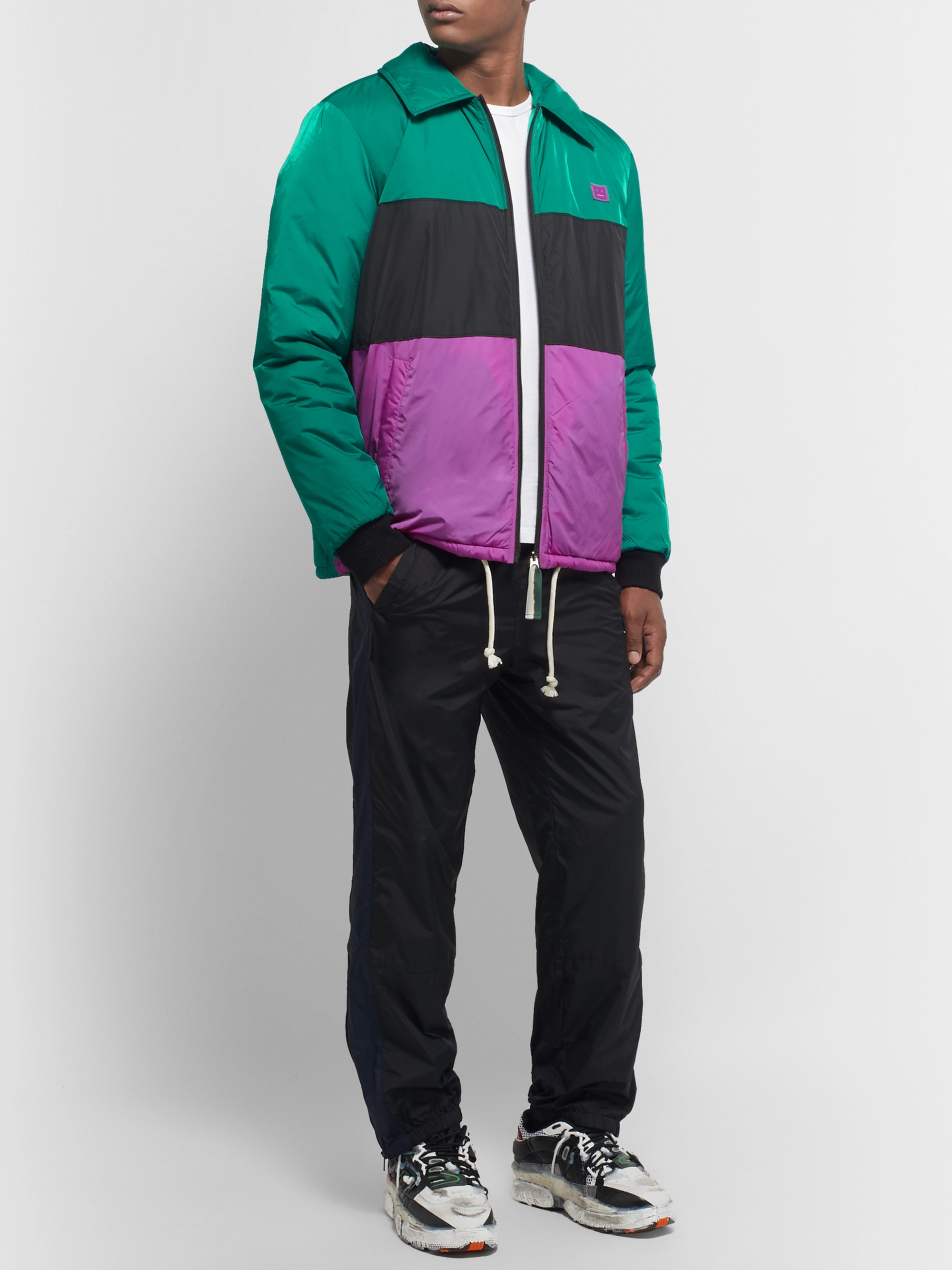 Acne Studios Logo-Appliquéd Colour-Block Padded Nylon Jacket