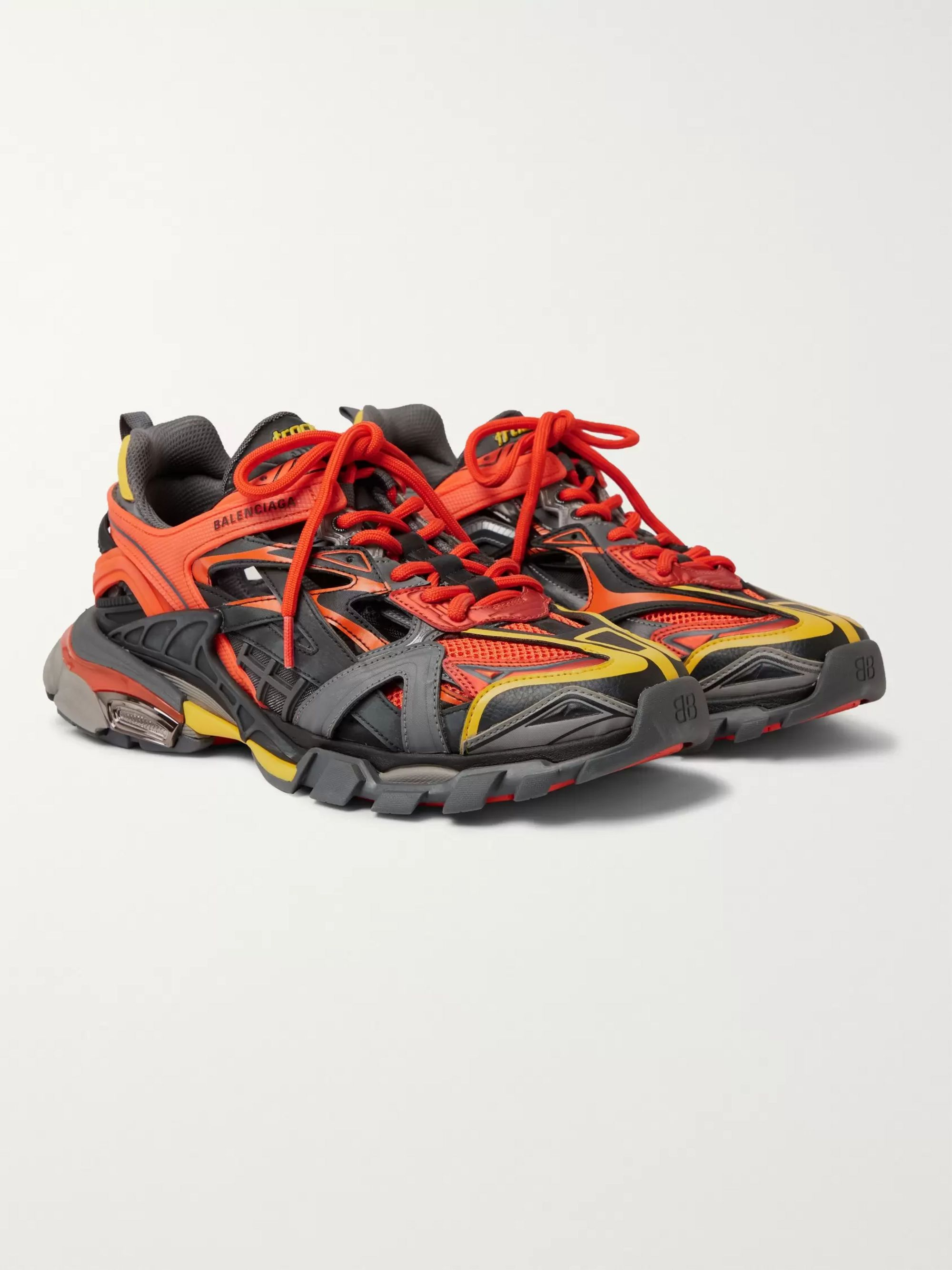 Orange Track 2 Nylon Mesh And Rubber Sneakers Balenciaga Mr Porter
