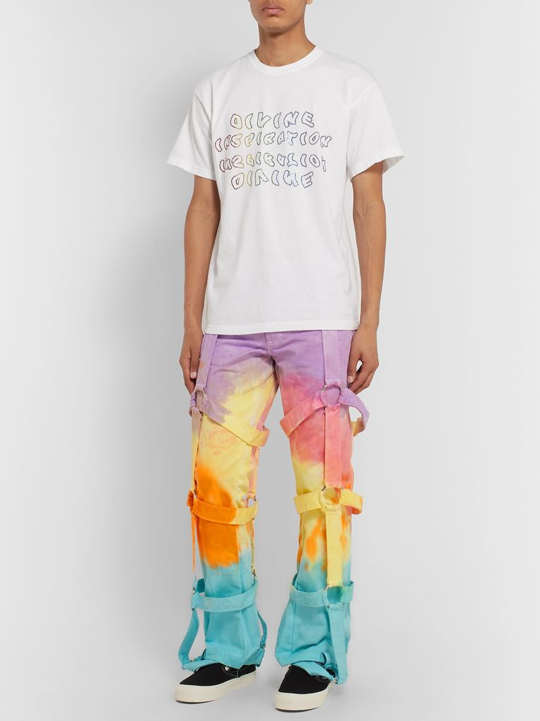 EV BRAVADO Strap-Detailed Tie-Dyed Denim Jeans
