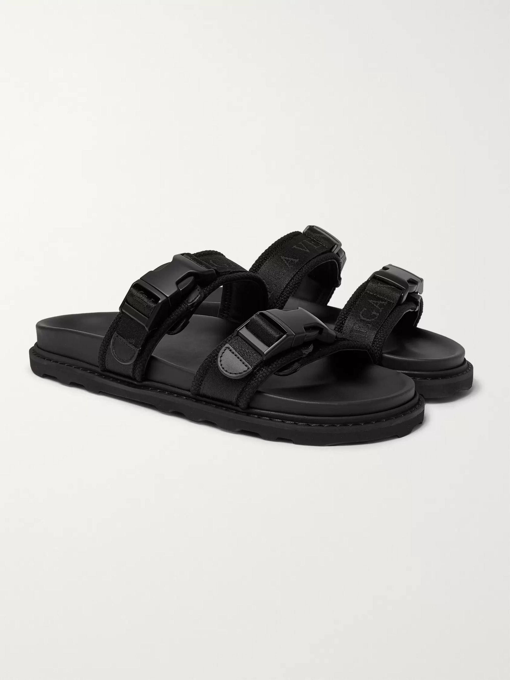 Bottega Veneta Leather and Webbing Sandals