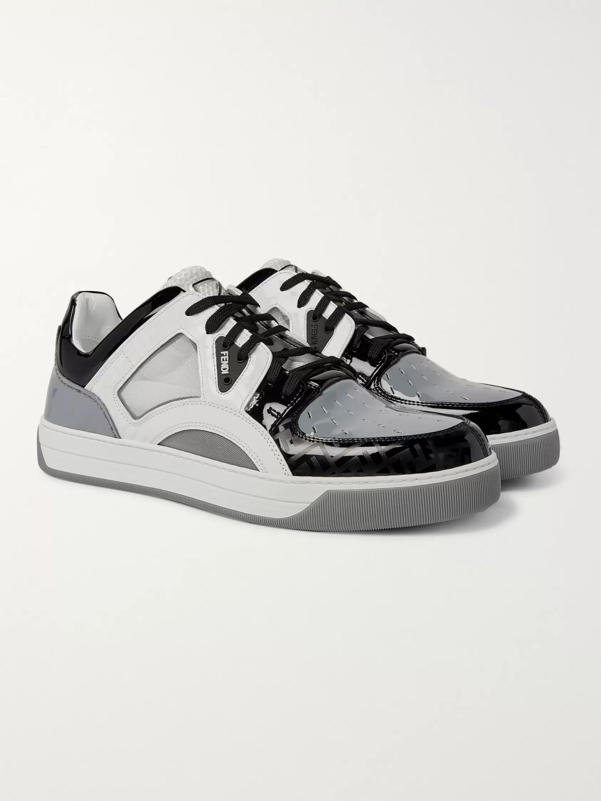 Fendi Patent-Leather and Mesh Sneakers