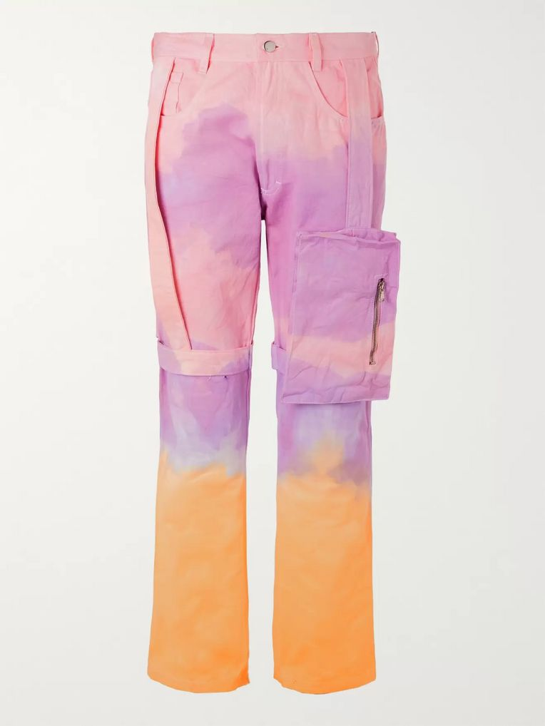 EV BRAVADO Strap-Detailed Tie-Dyed Denim Cargo Jeans