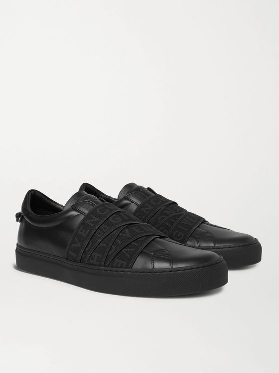GIVENCHY Urban Street Logo-Jacquard Leather Slip-On Sneakers