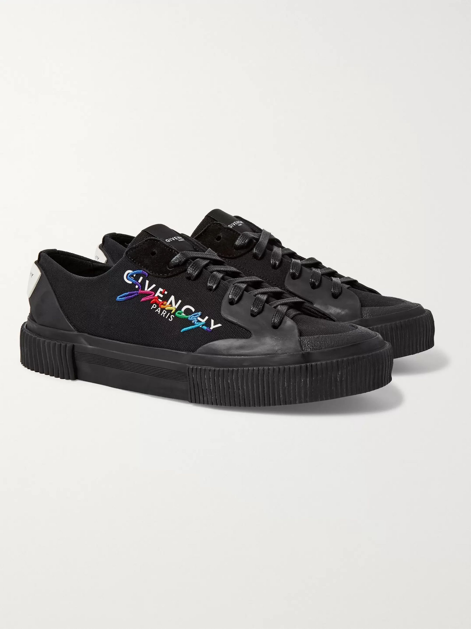 Givenchy Embroidered Logo-Print Rubber and Suede-Trimmed Canvas Sneakers