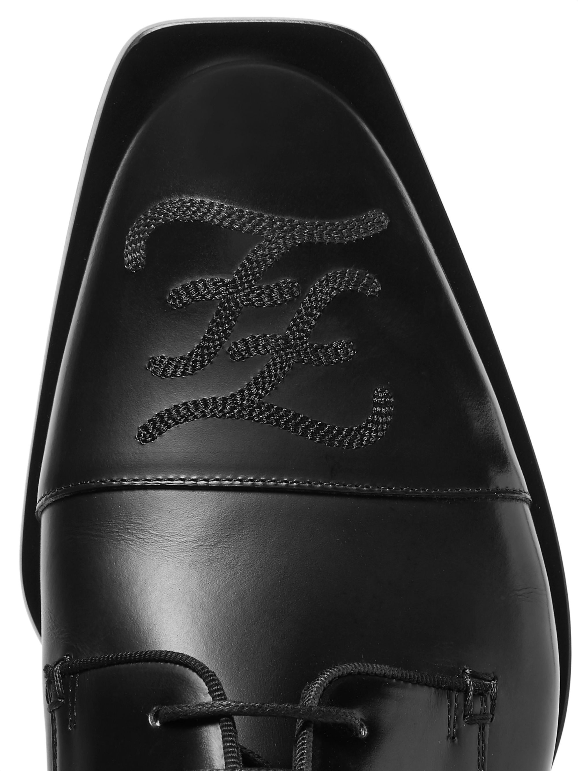 Fendi Logo-Embroidered Leather Derby Shoes